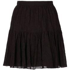 Saint Laurent Folk Voile Mini Skirt ($1,490) ❤ liked on Polyvore featuring skirts, mini skirts, straight skirt, flounce skirt, short frilly skirt, yves saint laurent skirt and short mini skirts
