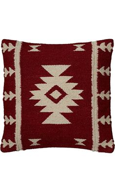 Rizzy Home T05810 Woven Southwestern Patten Decorative Pillow, 18 by 18-Inch, Red Best Price