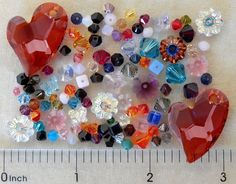 100 Assorted Swarovski Crystal Beads Bicone Marguerite Cube Heart Pendant Lot #Faceted