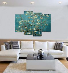 Wholesale cheap hand painted oil painting online, brand - Find best hand-painted oil painting high quality 4 piece no frame abstract paintings branches of an almond tree in blossom van gogh at discount prices from Chinese paintings supplier - chinaart2013 on DHgate.com.