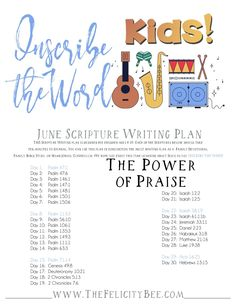 Inscribe the Word FOR KIDS - June Scripture Writing Plan is here! This month, we are studying the power of PRAISE and how it can bring us closer to our Father. I pray that you and your children will join us over at The Felicity Bee as we Inscribe the Word!