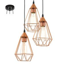 This is a three light ceiling pendant from the Tarbes range by Eglo. The 94196 is a vintage copper ceiling pendant. Cage Pendant Light, Copper Pendant Lights, Ceiling Pendant, Pendant Lamp, Pendant Lighting, Ceiling Lights, Lighting Uk, Task Lighting, Gold Pendant