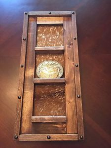 Belt-Buckle-Collection-Display-Board-Rustic-Cow-Hide-Holds-3-Buckles