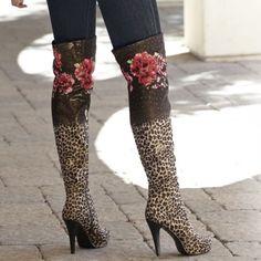 Rose & Leopard Boot by Midnight Velvet.  Confident Style. Beautiful You. www.midnightvelvet.com