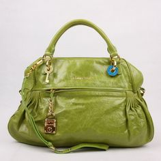 7f04dcb68475 Miu Miu Leather Tote Bags 7431 Coffee Green Handbag