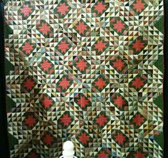Ocean Wave quilt, from Berks County, PA (dimensions 83 x Old Quilts, Antique Quilts, Scrappy Quilts, Vintage Quilts, Civil War Quilts, Green Quilt, Traditional Quilts, Quilt Stitching, Ocean Waves