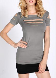 Stylish Boat Neck Hollow Design Summer T Shirt Grey