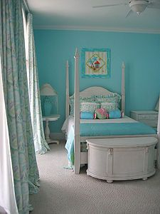Love a turquoise girls room- but with pink accents