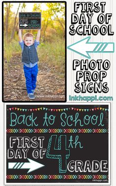 First day of school photo prop signs with FREE printablesvia Ink Happy My first day of kindergarten photo shootno link availableThis is such a cute back to Back 2 School, 1st Day Of School, Beginning Of The School Year, Going Back To School, School Teacher, School Days, School Lunches, Fun Christmas, School Signs