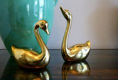 Vintage Brass Swans Pair / Brass Swans / Brass by Globalfindings