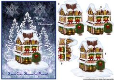 Christmas House on Craftsuprint designed by Marijke Kok - Beautiful traditional christmas house with nice white trees and stars,from our house to yours... - Now available for download!