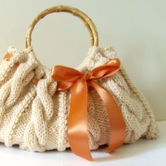 Handknit cable bag from Cape Gift Shop on Etsy