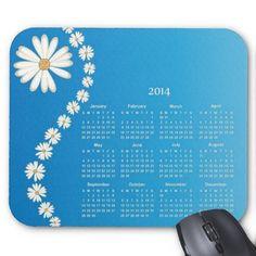 White Daisy 2014 Calendar Mousepad