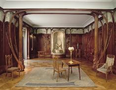 This exquisite room was designed by French sculptor, Alexandre Charpentier (1856-1909) who was influenced by naturalism and art nouveau.  He created fantasy designs such as this room made of mahogany, oak and poplar with metalwork made of gilt bronze.  This beautiful room combines fantasy with function.