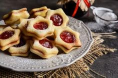 Photo about Christmas Linzer cookies stuffed with strawberry jam. Image of filled, baked, confectionery - 78799586 Linzer Cookies, Jam Cookies, Bon Dessert, Strawberry Jam, Confectionery, Scones, Crackers, Christmas Cookies, Waffles