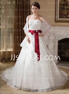 Wedding Dresses - $182.99 - Ball-Gown Strapless Chapel Train Organza Satin Wedding Dress With Lace Sashes Beadwork Crystal Brooch (002000278) http://jjshouse.com/Ball-Gown-Strapless-Chapel-Train-Organza-Satin-Wedding-Dress-With-Lace-Sashes-Beadwork-Crystal-Brooch-002000278-g278