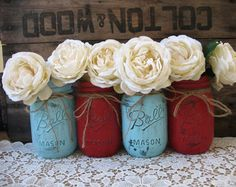 Set of 4 Pint Mason Jars, Painted Mason Jars, Rustic Wedding Centerpieces, Party Decorations, Red and Blue Wedding Mason Jar Party, Wedding Centerpieces Mason Jars, Pint Mason Jars, Ball Mason Jars, Western Wedding Centerpieces, Blue Centerpieces, Quinceanera Centerpieces, Quinceanera Party, Shower Centerpieces