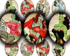 ZoMBIE PIN-UPS - Collage Sheet - Retro Horror Pin-Up Girls, Zombie Virus, Apocalypse, Living Dead,  Halloween, 30 x 40 mm Oval. $4,50, via Etsy.