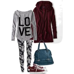 A fashion look from December 2014 featuring American Eagle Outfitters cardigans, American Eagle Outfitters t-shirts and H&M leggings. Browse and shop related l…