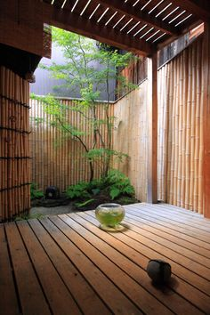 Small garden, Kyoto, Japan, bamboo fencing