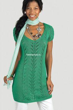 Вязание спицами ажурного платья-туники