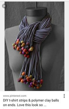 DIY t-shirt strips & polymer clay balls on ends. Love this look so dramatic.Valerie Barkowski nicer with FELTED balls!The most fabulous scarf Valerie Barkowskivalerie barkowski, fun textile jewelry and apparel on this site. Textile Jewelry, Fabric Jewelry, Clay Jewelry, Jewelry Art, Jewelry Accessories, Jewelry Design, Jewellery, Fabric Beads, Scarf Necklace