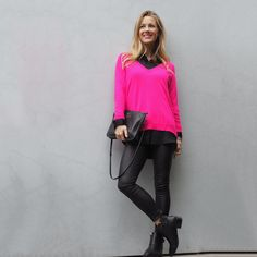 Chloé Loves To Shop - Fashion + Beauty + Lifestyle Pink Jumper, Jumper Outfit, I Love Winter, Winter Style, Stylish Work Outfits, Love To Shop, Outfit Posts, Bright Pink, Fashion Beauty