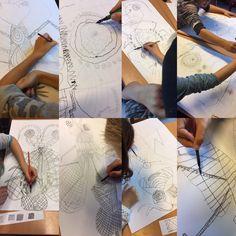 Teaching children, pen and ink, insekt