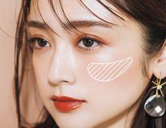チーク in 2020 Korean Makeup Look, Asian Eye Makeup, Makeup Tips, Beauty Makeup, Hair Makeup, Asian Make Up, Summer Makeup Looks, Japanese Makeup, Asian Eyes