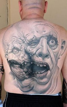 Tattoo of morphed monster faces by Nikko Hurtado    Wild...