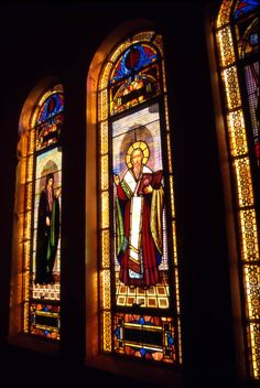 Beautiful stained glass windows at the St. Nicholas Greek Orthodox Cathedral (1999). | Florida Memory