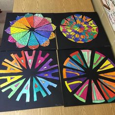 Some finished 5th grade color wheels!