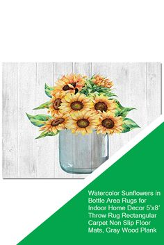Watercolor Sunflowers in Bottle Area Rugs for Indoor Home Decor 5'x8′ Throw Rug Rectangular Carpet Non Slip Floor Mats, Gray Wood Plank #sale