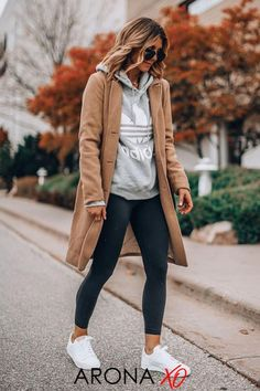 <CommissionsEarned> You can even try all of the Zella leggings on sale HERE. If there's one style pattern that keeps coming back each season, it's leggings. Just check out the Instagram feeds of the biggest celebrity fashion influencers , and also you're guaranteed to see a pair of stretchy, slim black leggings. Black Leggings Outfit Fall, Sneakers Outfit Casual, Sneaker Outfits Women, Casual Fall Outfits, Outfit With White Sneakers, Outfit Ideas With Leggings, Comfy Legging Outfits, Shoes With Leggings, Loafers Outfit