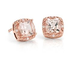 Blue Nile Morganite Earrings (5 030 SEK) ❤ liked on Polyvore featuring jewelry, earrings, polish jewelry, cushion cut earrings, blue nile earrings, 14 karat gold jewelry and 14k jewelry