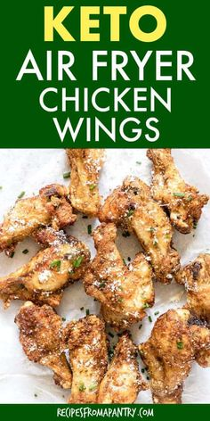 CCrispy Air Fryer Chicken Wings with Parmesan are a family friendly, crowd pleasing and healthy dish to serve at your next game day get. Low Carb Chicken Wings, Parmesan Chicken Wings, Air Fryer Chicken Wings, Keto Chicken, Chicken Recipes, Skinny Chicken, Healthy Chicken, Shrimp Recipes, Diet Salad Recipes