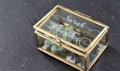 Personalized ring box with glass engraving in gold Wedding Wedding Boxes, Gold Wedding, Diy Wedding, Wedding Photos, Dress Wedding, Bridal Shower Decorations, Wedding Decorations, Ring Holder Wedding, Wedding Rings