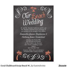 Coral Chalkboard Script Beach Wedding 5x7 Paper Invitation Card