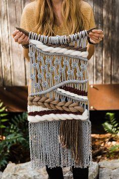 Gray Macraweave Burgundy Home Decor Medium Macrame Modern Etsy Macrame, Macrame Art, Macrame Design, Macrame Projects, Macrame Knots, Macrame Modern, Weaving Art, Loom Weaving, Tapestry Weaving