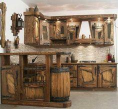 Ideas home decored ideas rustic cabin for 2019 Rustic Kitchen Cabinets, Rustic Kitchen Design, Rustic Design, Küchen Design, House Design, Design Ideas, Cabin Kitchens, Log Furniture, Kitchen Furniture