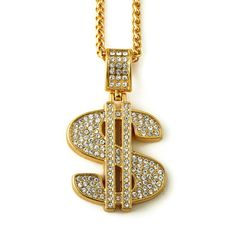 NYUK Gold Plated Hip Hop Bling Bling Dollar Sign Gold Chain Dollars Rhinestone Pendant Necklace Fashion Jewelry Men Women Gifts