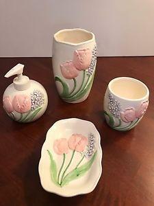 Mary Ann Baker Bathroom Kitchen Set Otagiri Tulips Vintage Rare Set    eBay