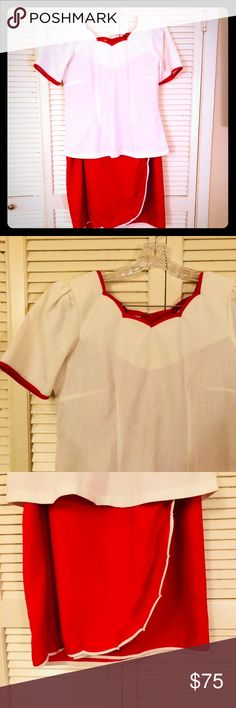 🌴SALE EUC VTG RARE Plus Armani top/wrap skirt set This is an absolutely unique and stunning set from the Armani collection. It is vintage. With Armani collection printed into the fabric (no size tags) fits like a 16 (measurements available). Rare and unique from the vintage collection. Beautiful Spanish inspired white top with red piping and a unique red/white piped wrap around skirt. Sold as a set. Excellent used condition. Very rare Armani Collezioni Skirts Skirt Sets