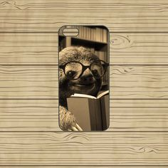 iphone 5S case,iphone 5C case,iphone 5S cases,cute iphone 5S case,cool iphone 5S case,iphone 5C case,5S case--Sloth reading,in plastic. by Missyoucase, $14.95