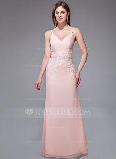 Evening Dresses - $139.99 - Sheath/Column V-neck Floor-Length Chiffon Charmeuse Evening Dress With Lace Beading Sequins (017025437) http://jjshouse.com/Sheath-Column-V-Neck-Floor-Length-Chiffon-Charmeuse-Evening-Dress-With-Lace-Beading-Sequins-017025437-g25437