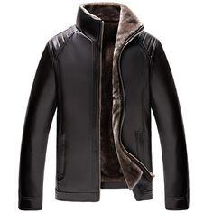 Men's Clothing New Winter Leather Coats Mens Faux Fur Coat Male Leather Jacket Fleece Lined Velvet Thick Slim Thermal Fur Jacket Men Superior Performance