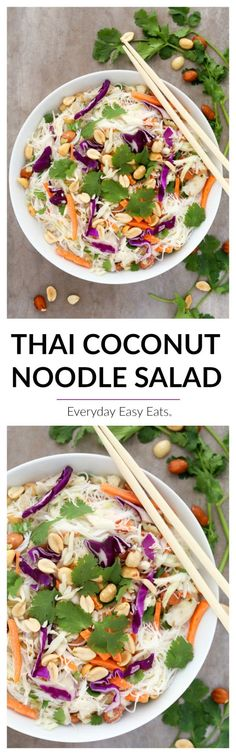 This Thai Coconut Noodle Salad recipe is light, refreshing and infused with fragrant Thai flavors. Ready to eat in just 7 minutes!