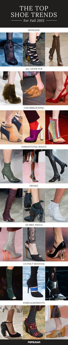 The top shoe and boot trends from the Fall 2015 runways.♡♡♡♡♡♡♡♡♡ I love the color blocked boots! Fall 2015 Trends, 2015 Fashion Trends, Love Fashion, Fashion Shoes, Womens Fashion, Top Shoes, Me Too Shoes, Peep Toe, Moda Paris