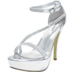 New Women's Shoes Rhinestones Stilettos Open Toe Silver Evening Prom Wedding | eBay