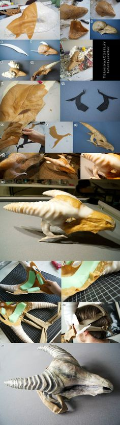 Marowak Skull Mask Tutorial- Worbla Scraps by TerminaCosplay.de… on Marowak Skull Mask Tutorial – Worbla Scraps von TerminaCosplay. Cosplay Armor, Cosplay Diy, Halloween Cosplay, Halloween Masquerade, Costume Tutorial, Cosplay Tutorial, Larp, Dragon Costume, Friendly Plastic